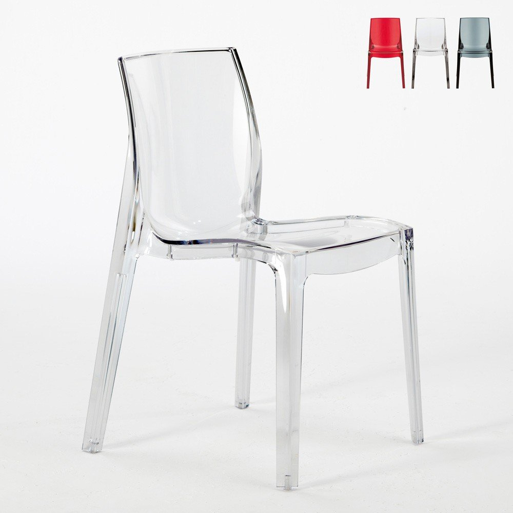 S6317 - Transparent Design Chair in Polycarbonate Made in Italy for the Kitchen Living Rooms Femme Fatale -