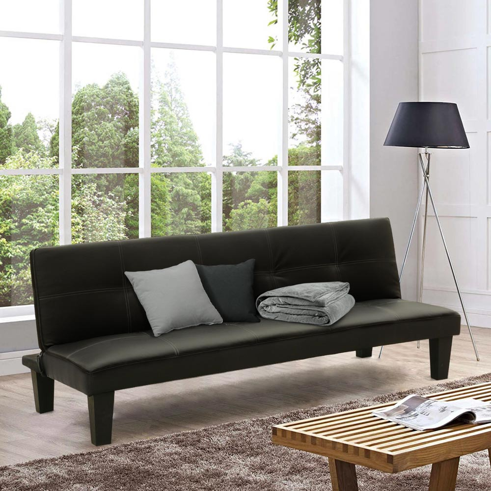 Topazio LIViNG Small Sofa Bed Made With Eco Leather For Studio Apartment Two-Room Apartment - outdoor