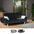 Sofa Bed 2 Seats in Eco Leather with Armrests and Cushions Agata