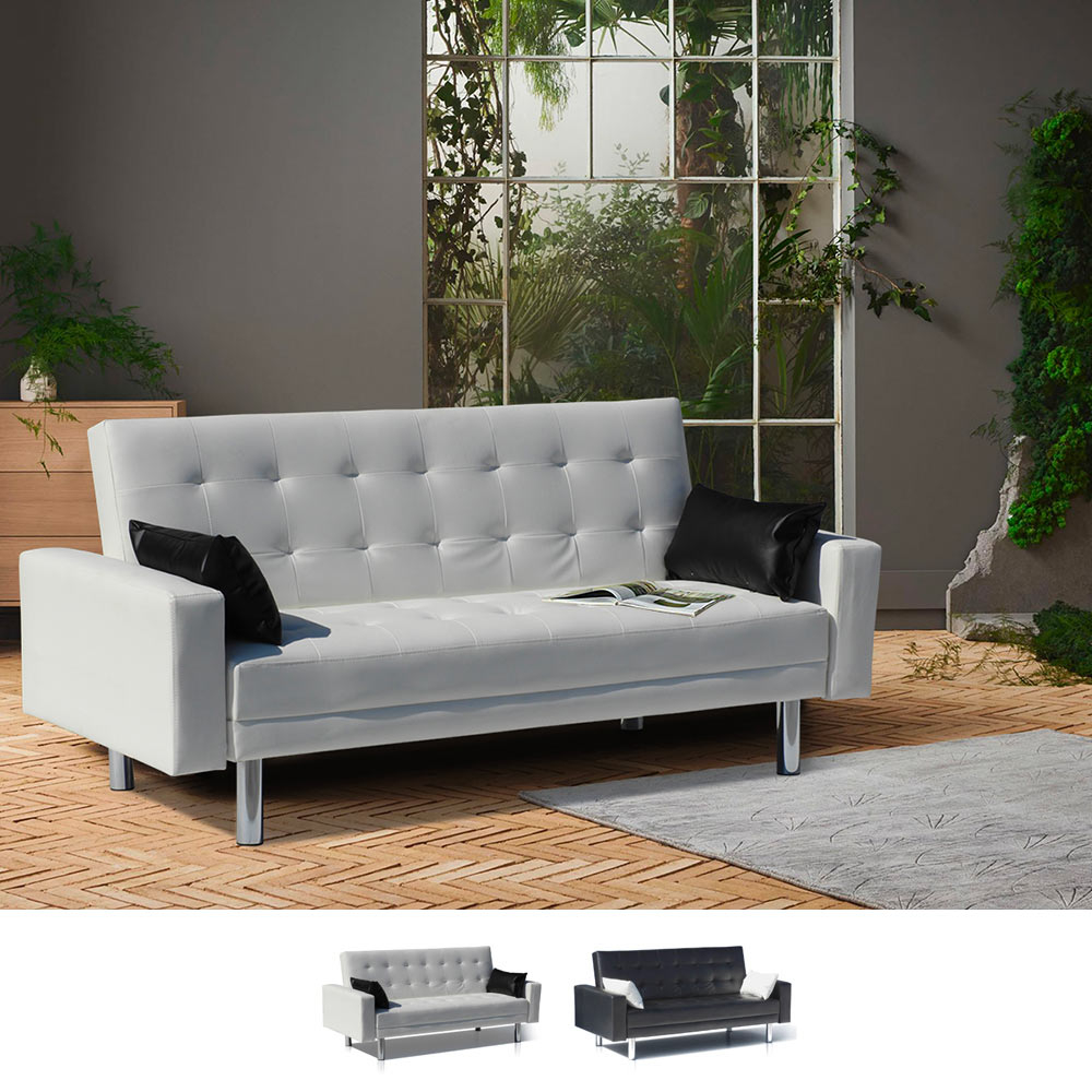 Sofa Bed 2 Seats in Eco Leather with Armrests and Cushions Agata - image