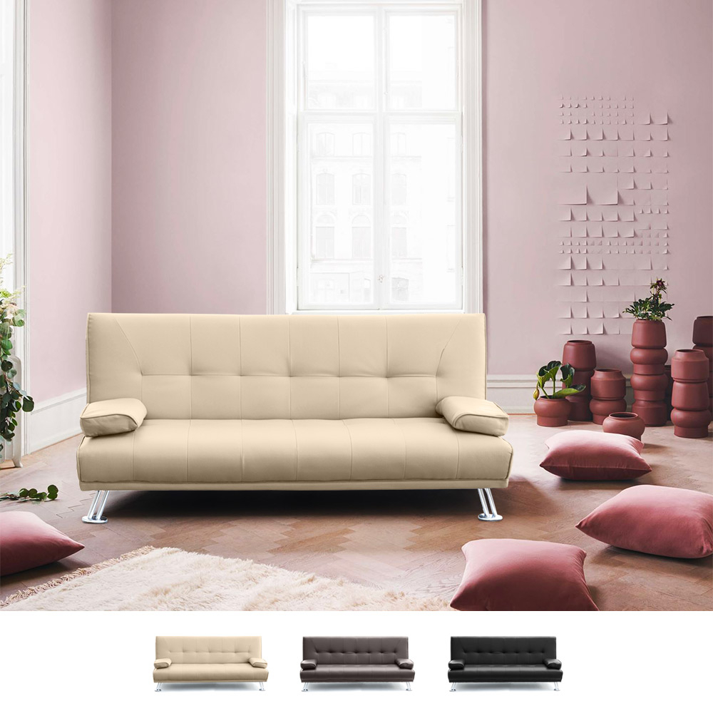 Sofa Bed 2 Seats in Eco Leather with Armrests Olivina - discount