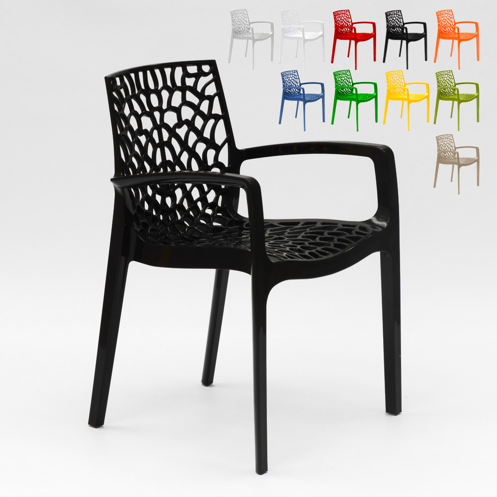 Polypropylene Design Chair with Armrests for Kitchens Bar Cafè Gruvyer Arm - promo