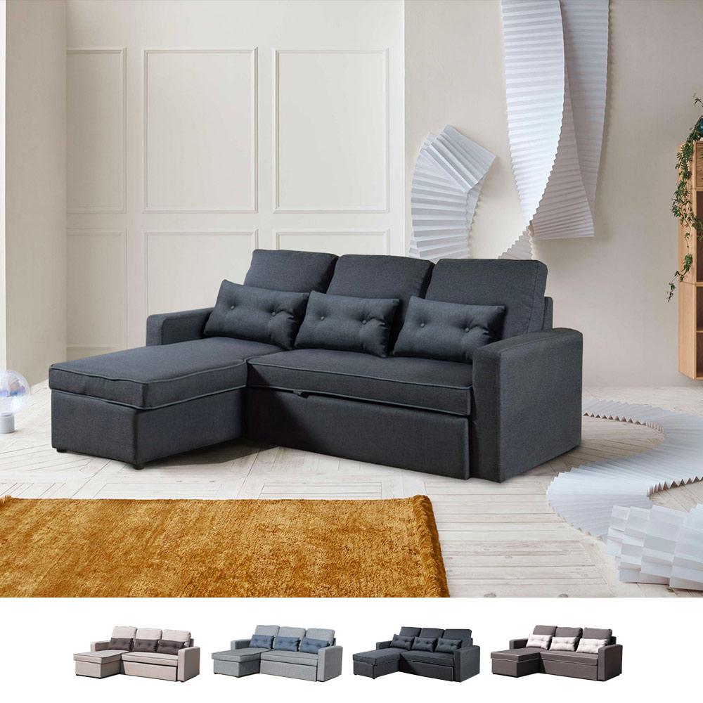 Corner Sofa Bed in Microfiber 3 Seats with Cushions Smeraldo - image
