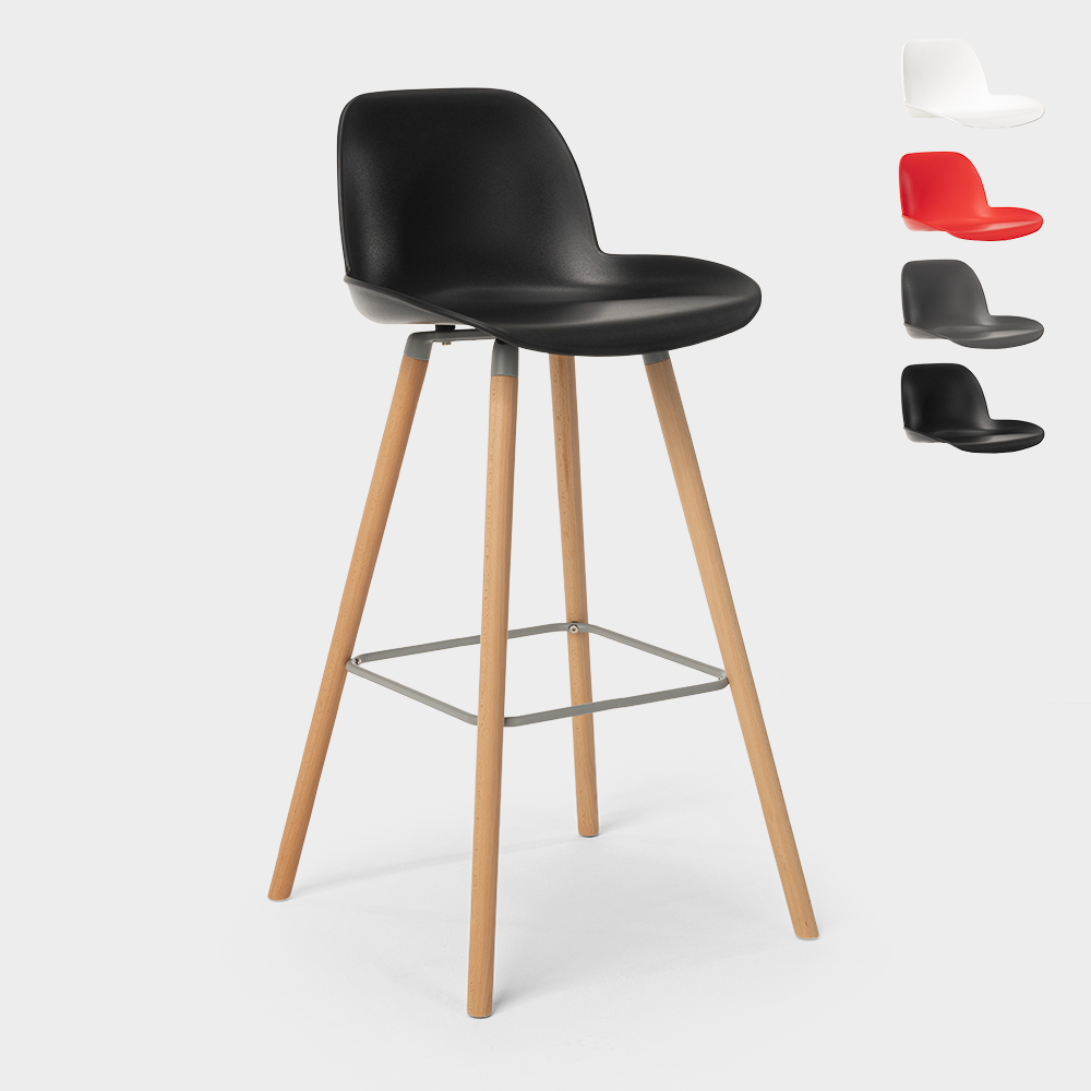 Bar and kitchen stool with backrest Nordic design and wooden legs Burj 9