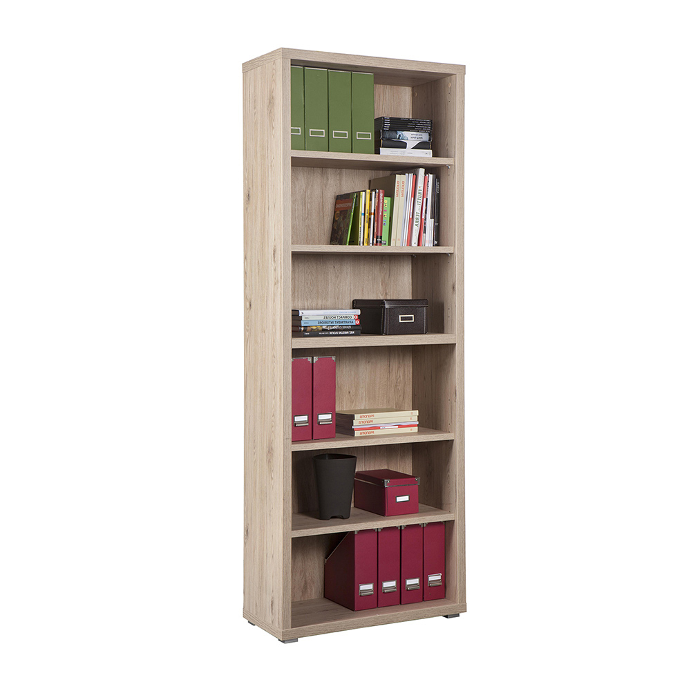 Bookcase in oak effect wood classic design with 6 shelves Virginia