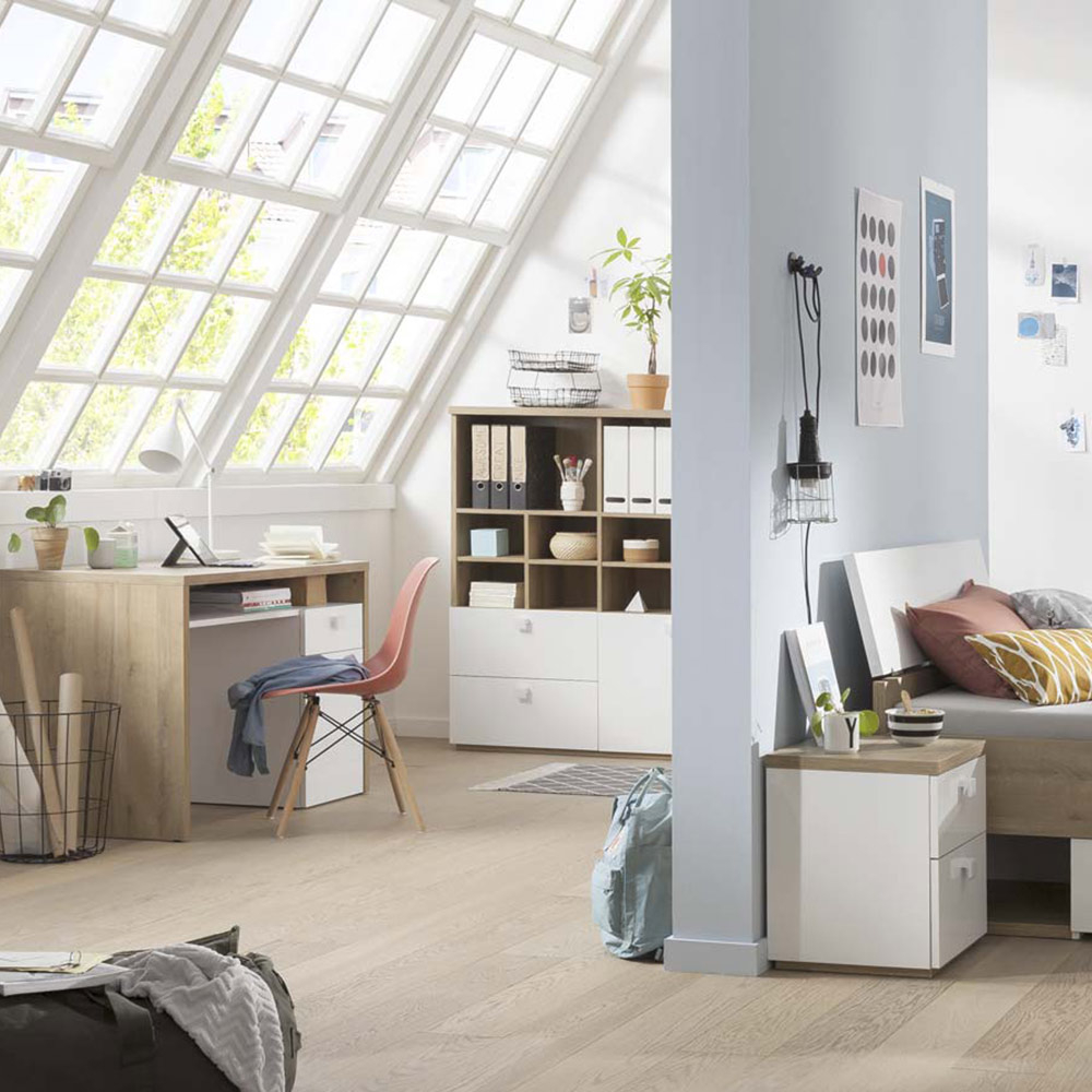Modern bookcase in wood and white lacquered with open compartments and sliding drawers for living room and office Aurora