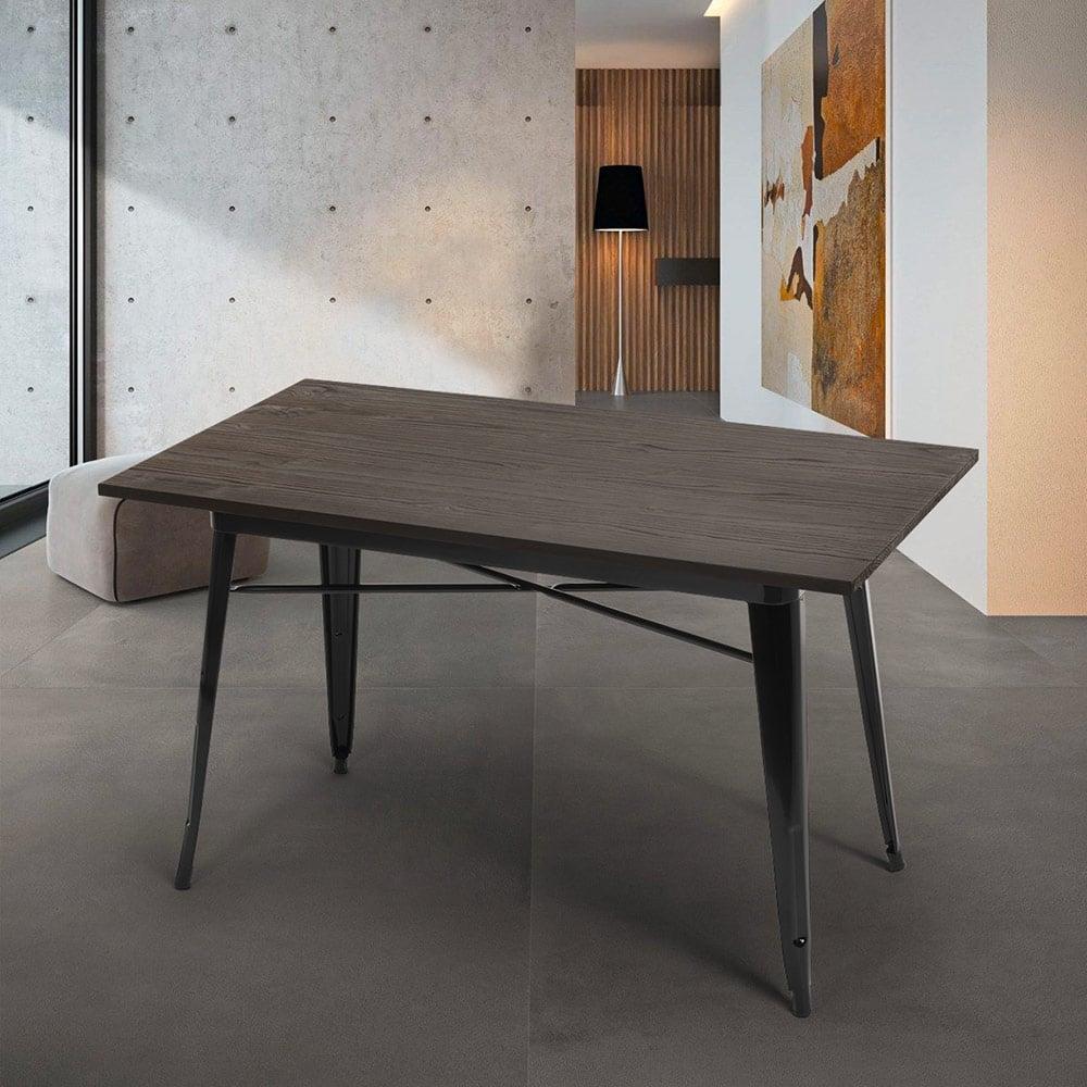 Dining Table 120x60 Design Tolix Industrial Metal Wood Rectangular Caupona