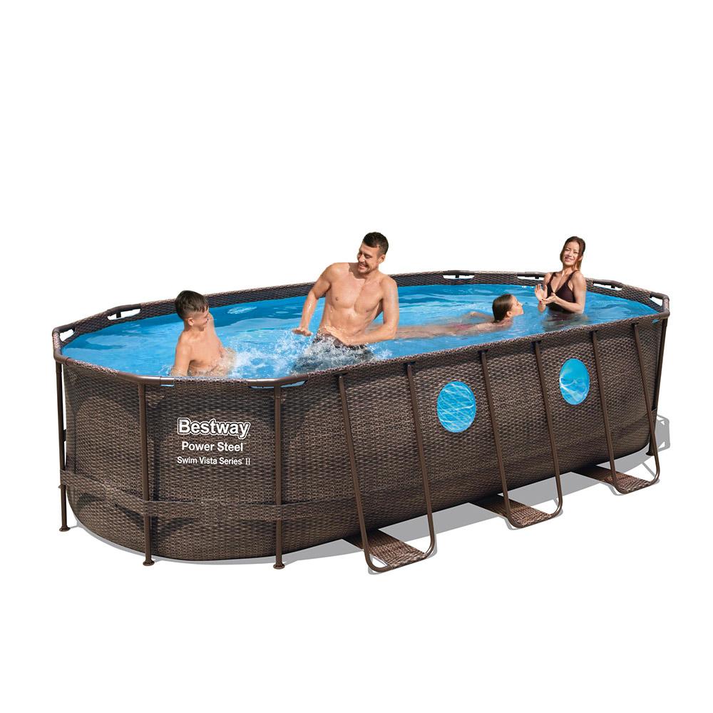 Bestway 56716 Oval Above Ground Pool with Swim Vista Porthole 549x274x122 cm - price