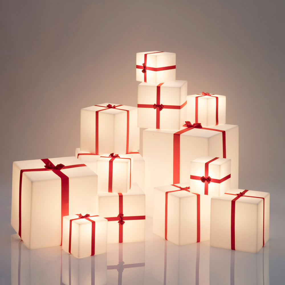 Christmas present cube table floor lamp Merry Cubo by slide - sales