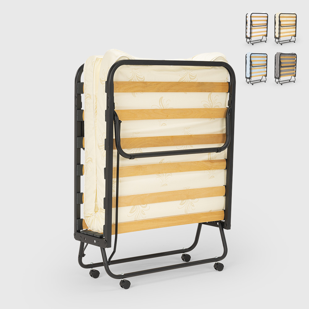 Folding single bed with wheels and included mattress and slats 80x200 Demetra - forniture