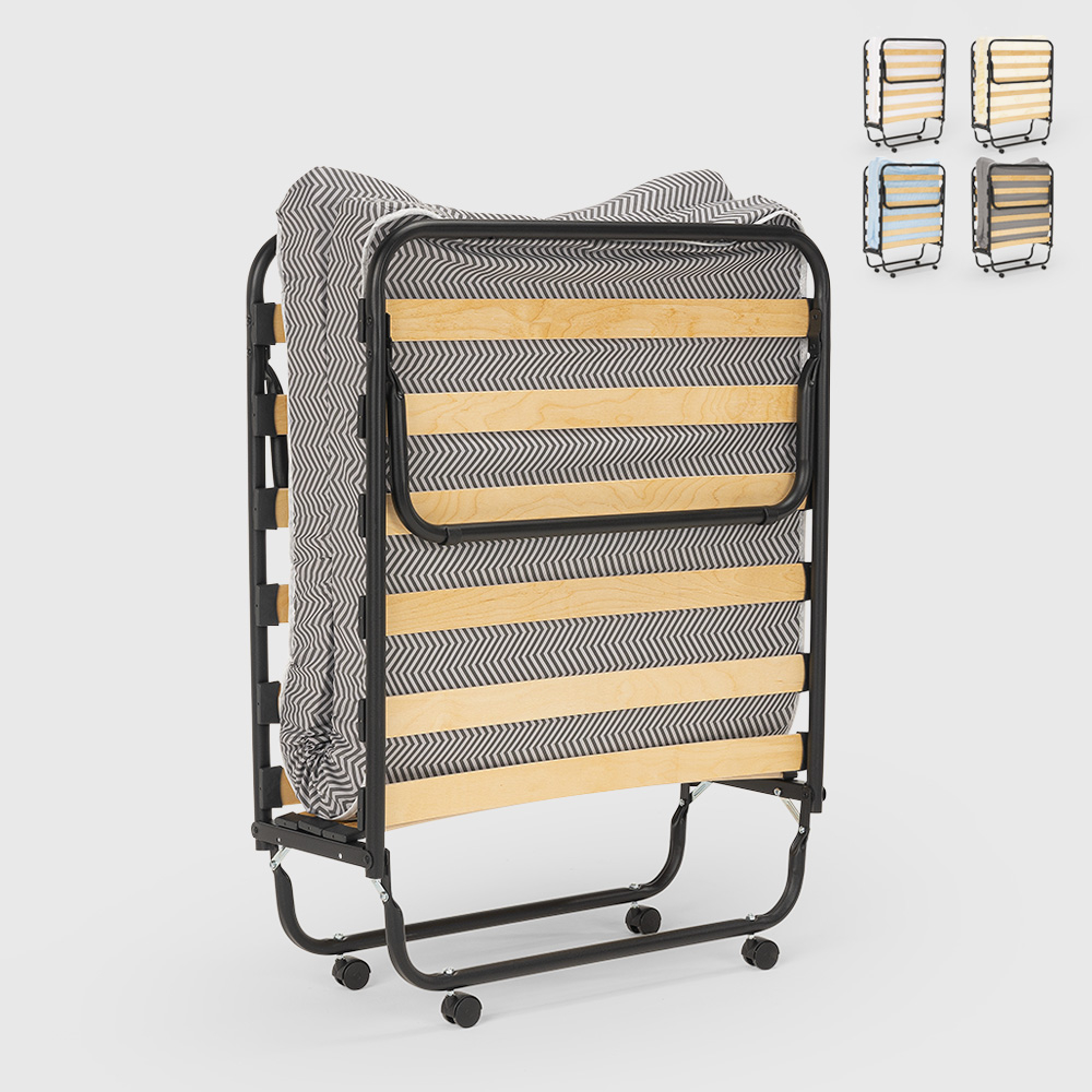 Folding single bed with wheels and included mattress and slats 80x190 Apollo - indoor