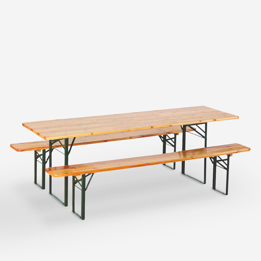 Stock set brewery 8 pieces tables wooden folding benches 220x80 Oletan
