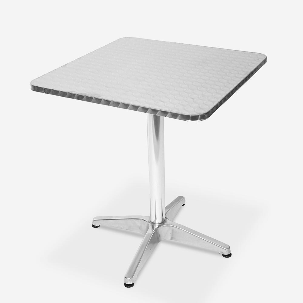 Outdoor bistro bar table 70x70cm square folding top in steel Locinas