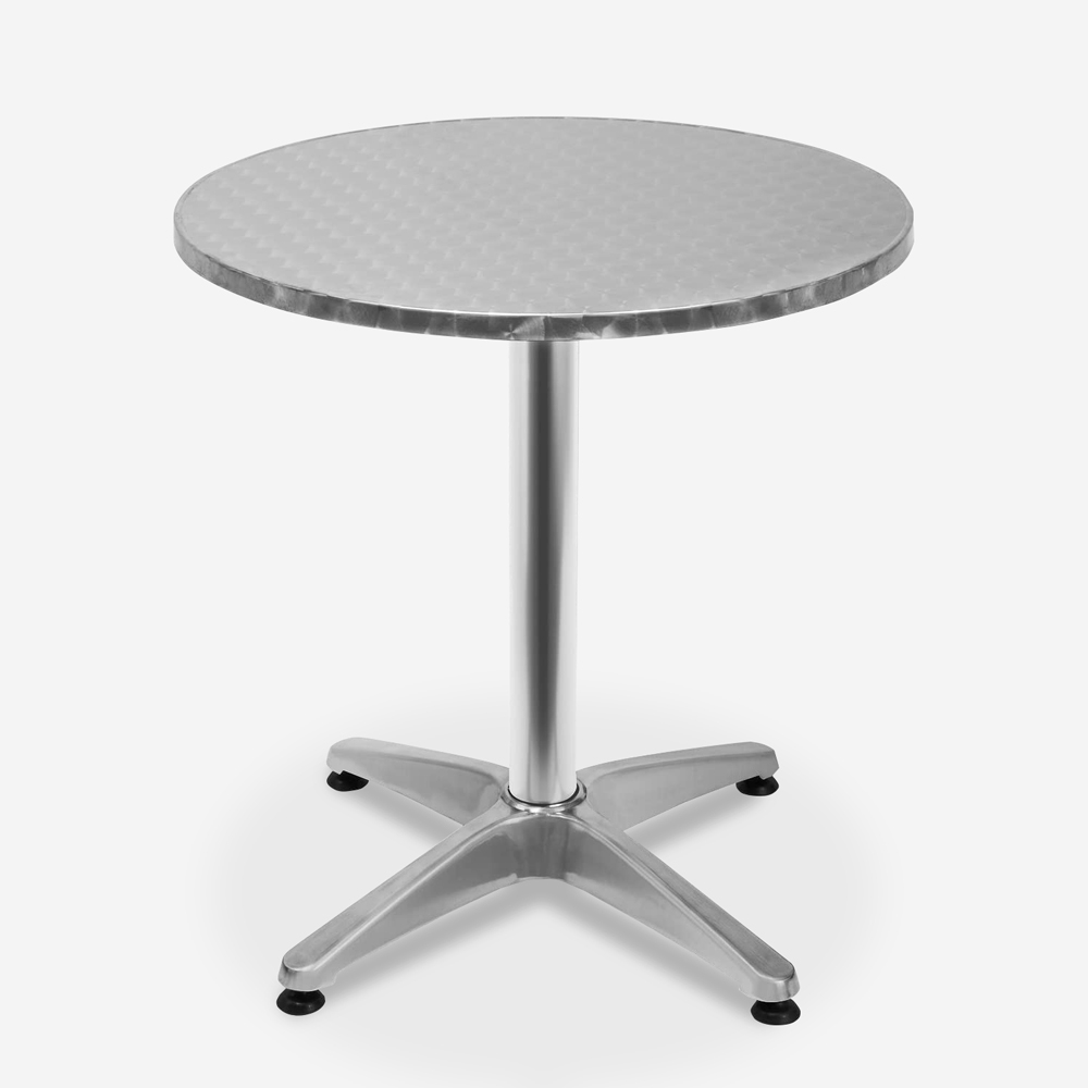 Table with 70cm round folding top in steel for outdoor bistro bar Skladan