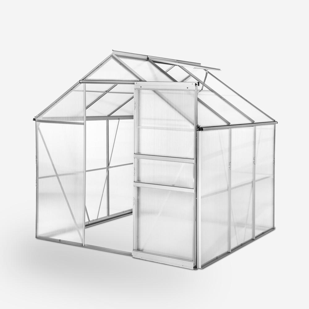 Garden greenhouse in aluminum and polycarbonate with door and window 183x185x205cm Vanilla