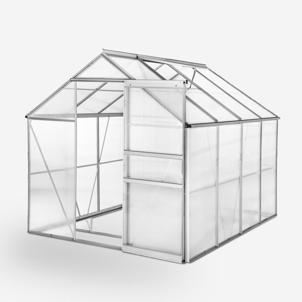 Garden greenhouse in aluminum and polycarbonate with door and window 183x245x205cm Laelia