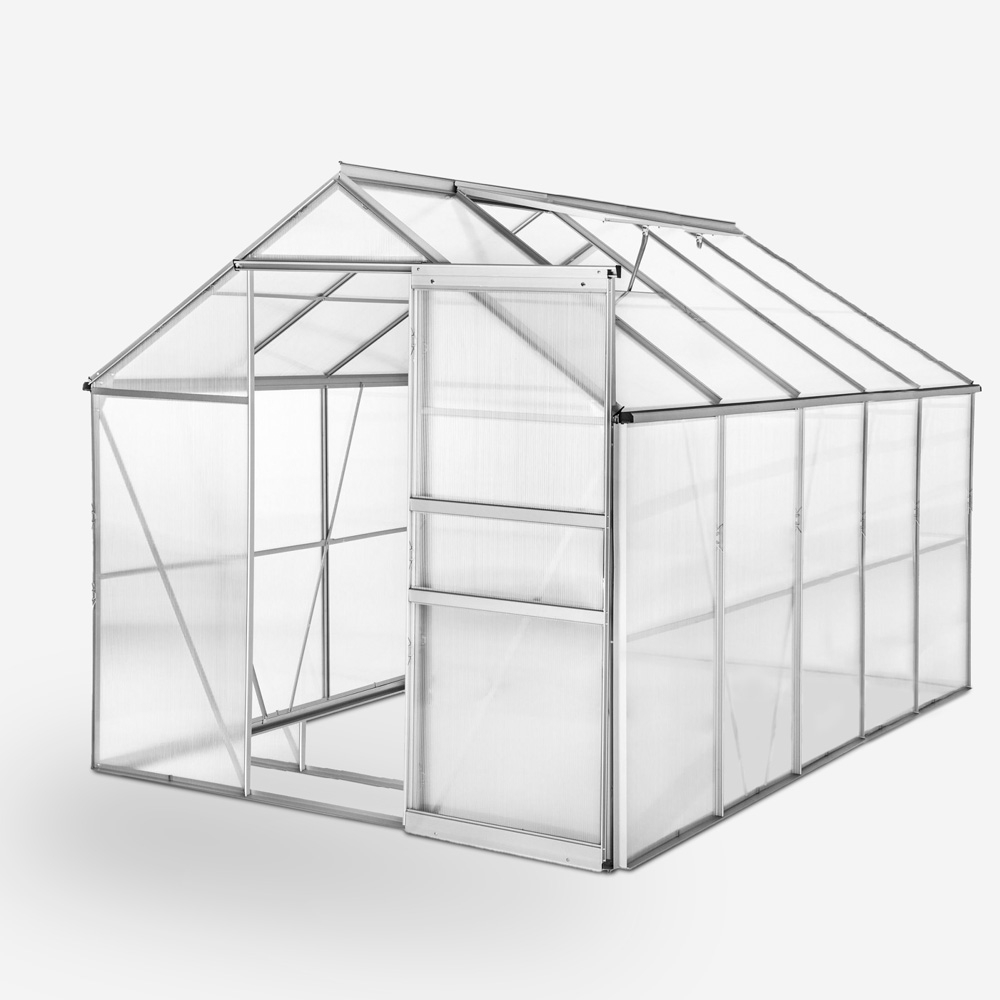 Greenhouse for gardening in aluminum and polycarbonate with door and window 183x305x205cm Pavonia