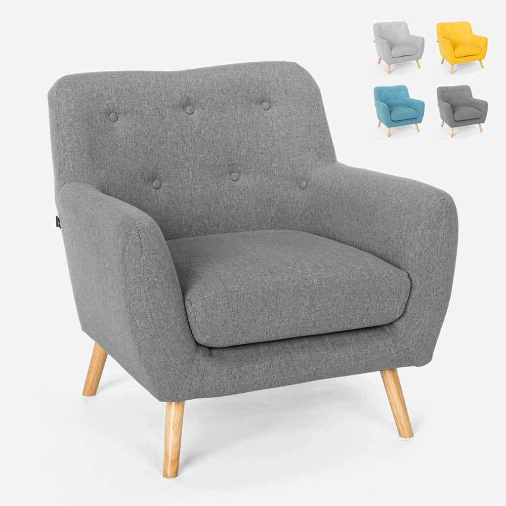 Nordic style modern design living room armchair in wood and fabric Modesto
