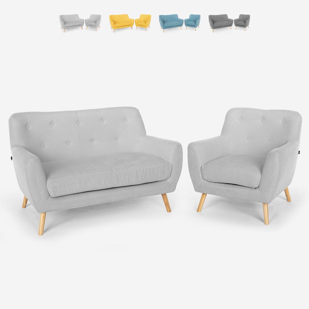 Living room armchair sofa 2 seater Scandinavian design wood and fabric Algot