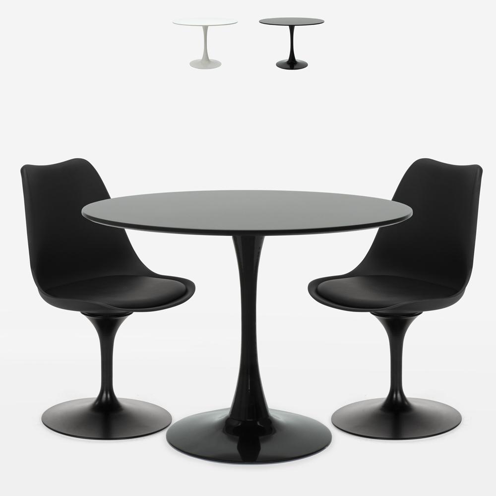 Round table set 80cm 2 chairs design Tulip modern Scandinavian style Aster