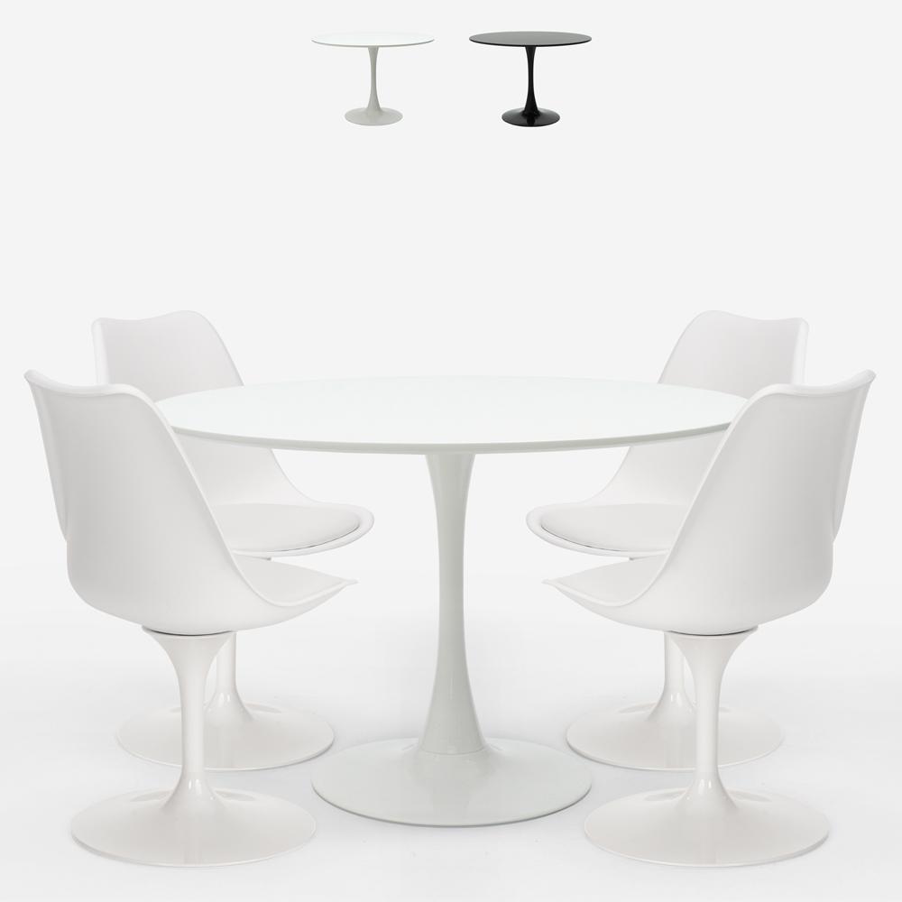 Round table set 120cm 4 modern Scandinavian style Tulip chairs Margot