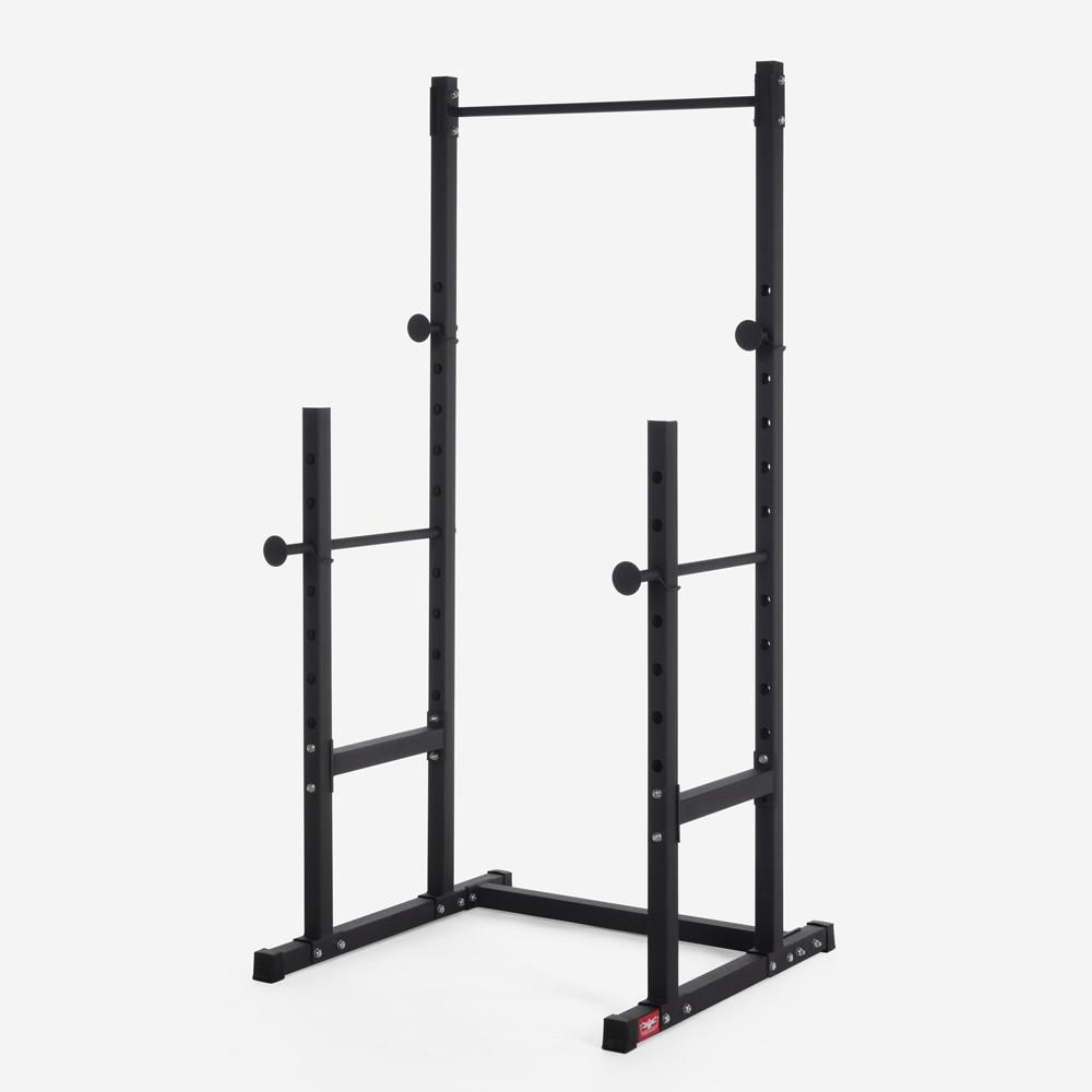 Adjustable barbell squat rack with cross training pull up bar Stavas
