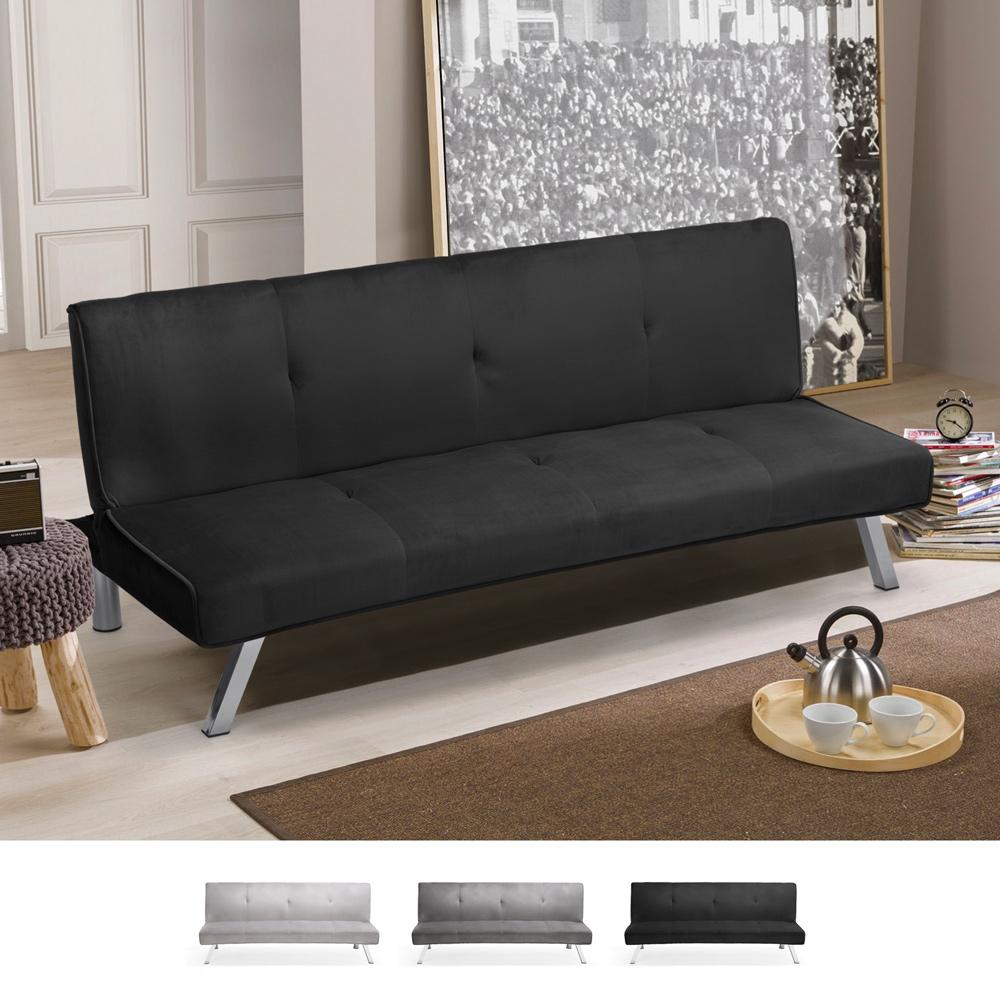 3 seater sofa bed design click clac reclining velvet fabric Explicitus